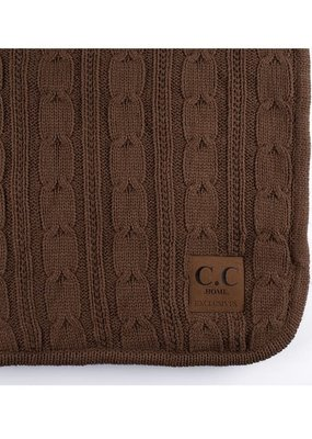 CC HOME EXCLUSIVES CC Home Exclusives Cable Knit Throw - Mocha