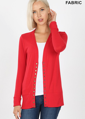 Red Snap Front Cardigan