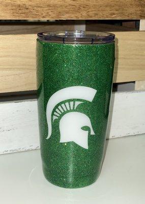 LTB MSU Green Glitter Spartan Tumbler
