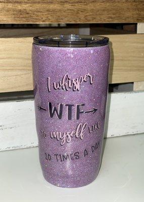 LTB Whisper WTF Purple Glitter Tumbler