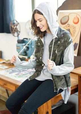 Oddi Camo Hooded Distressed Jacket