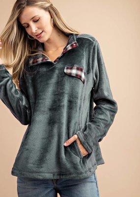 Kori Stone Plaid Fuzzy Pullover