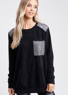 Silver Shoulder Black Chenille Top