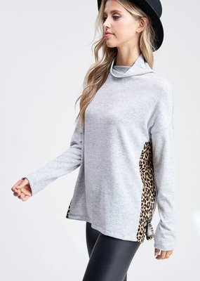 Heather Grey Top with Leopard Sides