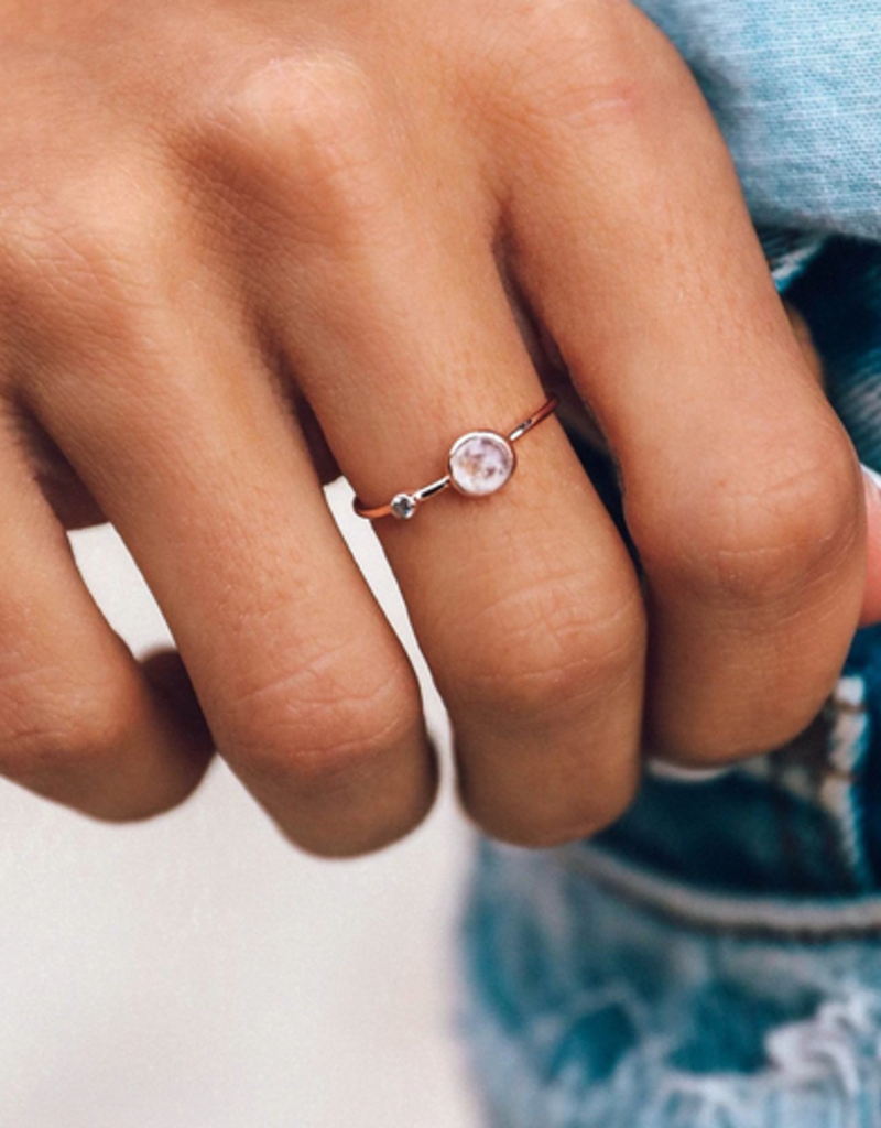 Moonstone Double Stone Ring - Rose Gold