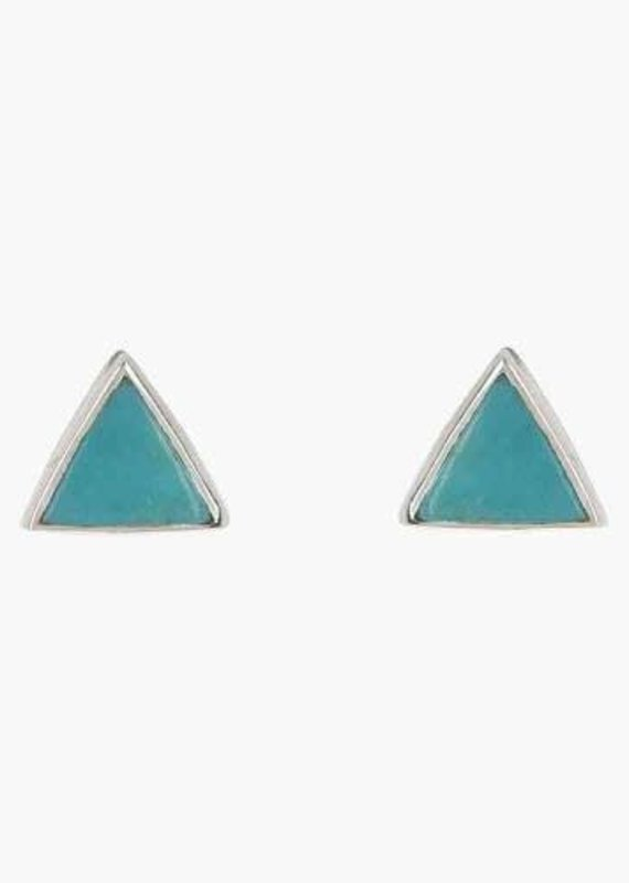 Turquoise Silver Triangle Studs