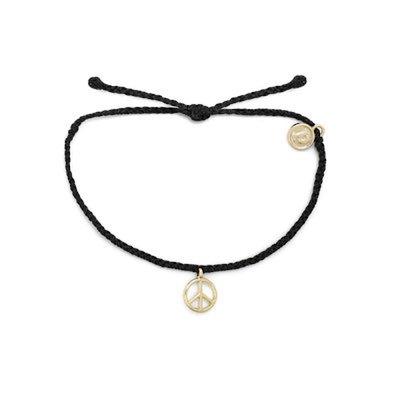Black Gold Peace Sign Bracelet
