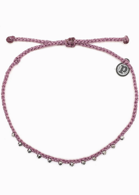 Silver Stitched Beaded Anklet - Lavender