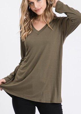Heimish USA Basic Long Sleeve Solid Top - Olive