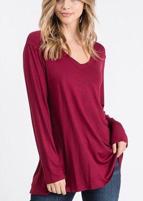 Heimish USA Basic Long Sleeve Solid Top - Burgundy