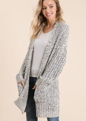 Black and White Popcorn Cardigan