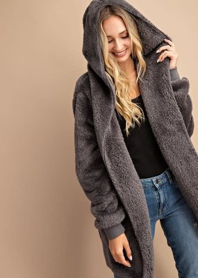 Hooded Charcoal Open Front Sherpa