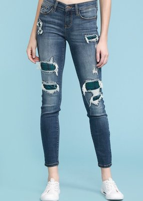 Navy Plaid Patch Judy Blue Skinnies