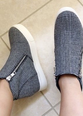Soda Grey Plaid Wedge Sneakers