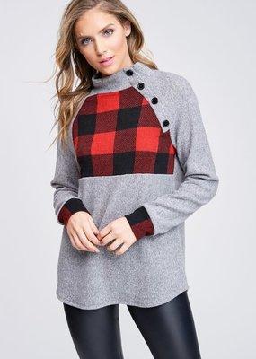 White Birch Gray Buffalo Plaid Sweater