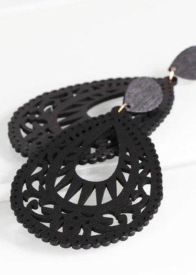 Large Wood Teardrop Earrings - Black