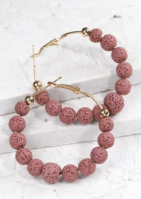 Blush Lava Stone Hoop Earrings