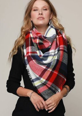 Navy Red Multi Plaid Scarf