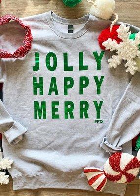 PPTX Jolly Happy Merry Foil Crew Neck
