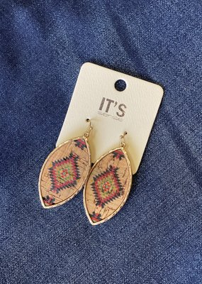 Gold Cork Aztec Earrings
