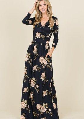 Reborn J Black Floral Maxi Dress w/ Pockets
