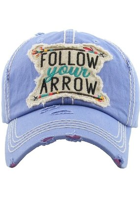 Follow Your Arrow Distressed Hat - Lavender