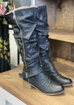 SOTD Footwear Black Slouchy Tall Boots