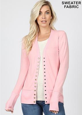 Snap Front Cardigan - Light Pink (S-3XL)