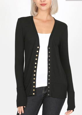 Snap Front Cardigan - Black (S-3XL)