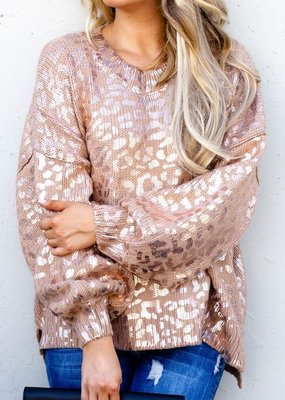 And the Why Rose Gold Leopard Sweater (S-2XL)
