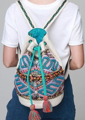 LTB Teal Embroidered Bucket Backpack