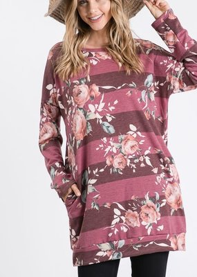 Heimish USA Mauve Floral Stripe Tunic with Pockets (XL-3XL)