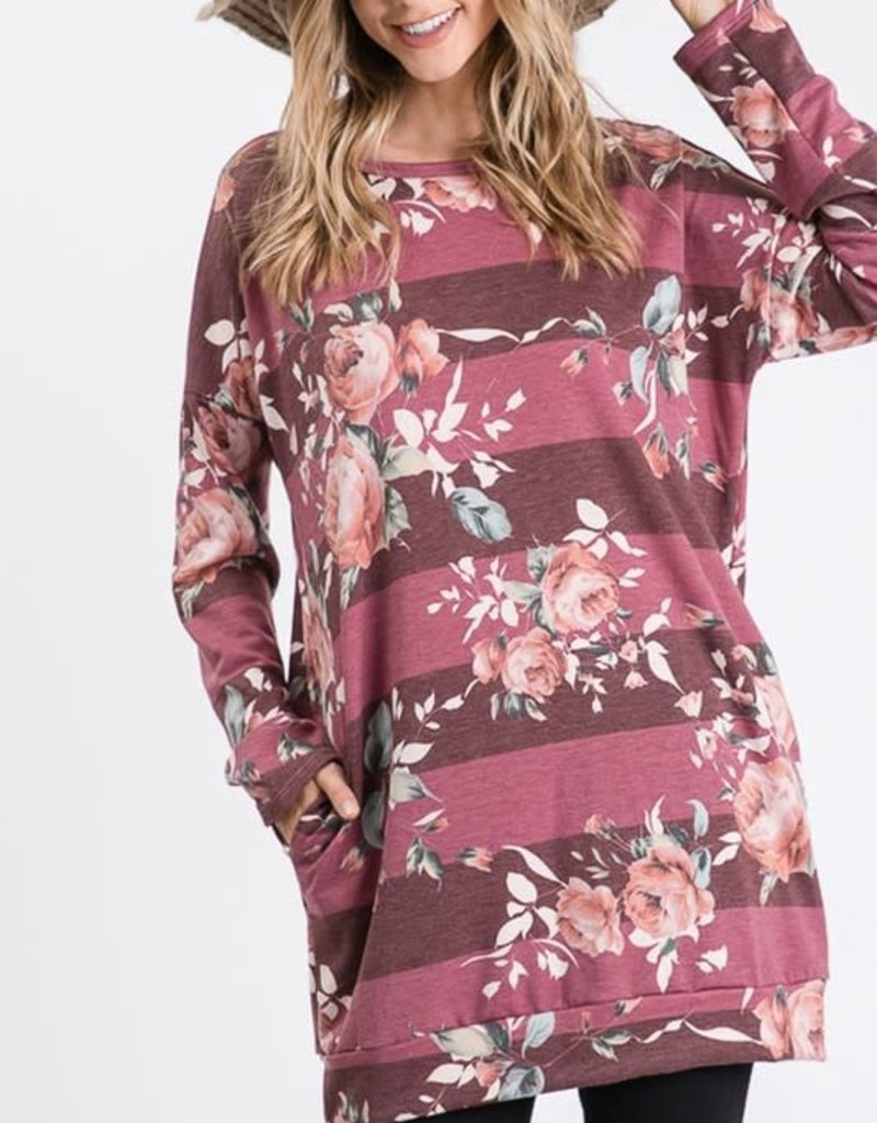 Heimish USA Mauve Floral Stripe Tunic with Pockets (XL-3XL)
