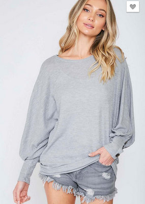 Fantastic Fawn Heather Gray Solid Knit Top