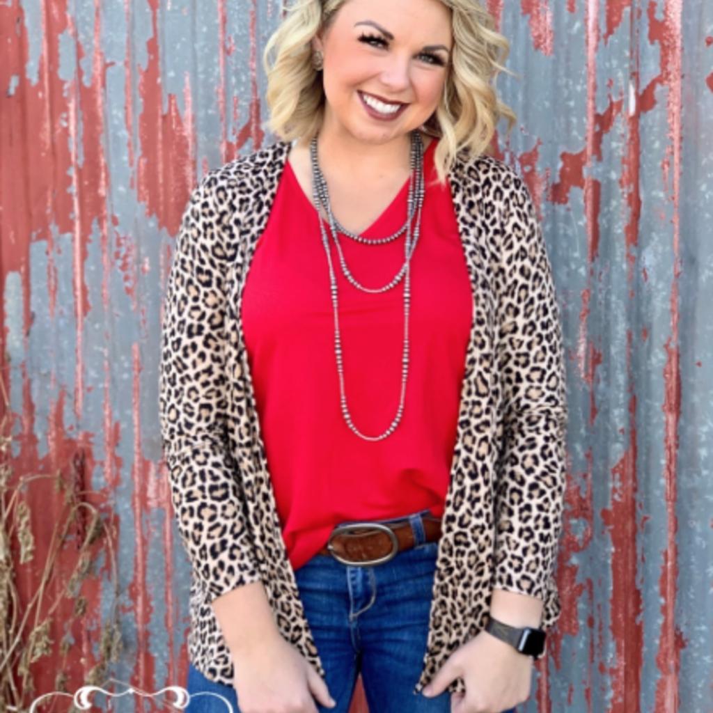 texas true Threads Short Leopard Cardigan w/ Pockets