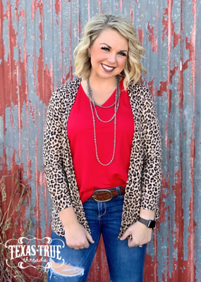 texas true Threads Short Leopard Cardigan w/ Pockets