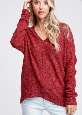 White Birch Red Dolman Sleeve Sweater