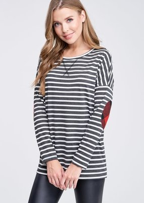 White Birch Striped Top with Buffalo Plaid Elbow Patch