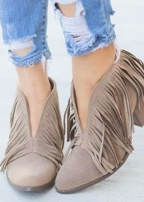 Beast Fashion Taupe Ankle Fringed Bootie