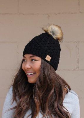 LTB Black Basket Weave Knit Pom Beanie
