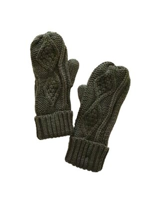 LTB Olive Knit Fleece Lined Mittens
