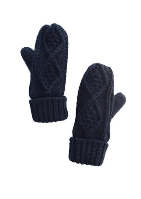 LTB Black Knit Fleece Lined Mittens