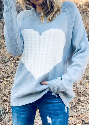 and the way Love Heart Gray Knit Sweater