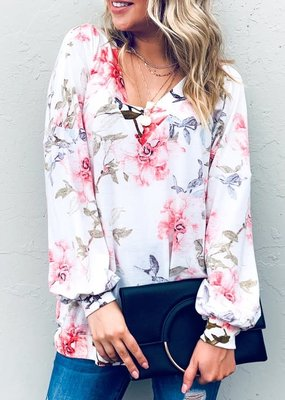 and the way Ivory Floral V-Neck Top