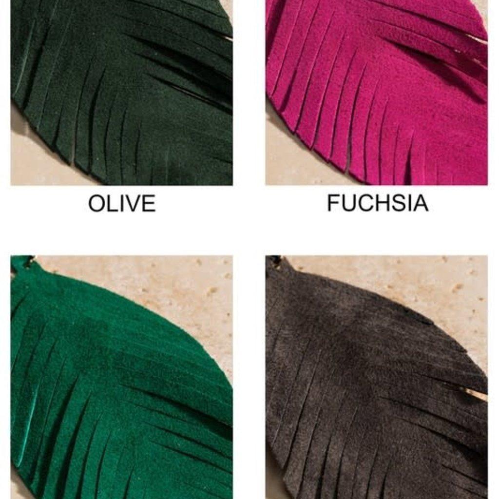 urbanista Genuine Leather Leaf Earrings (Fucshia & Blue Only)