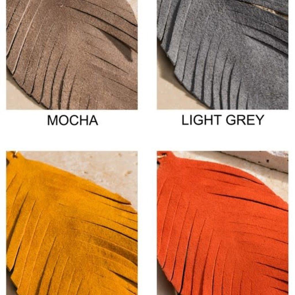 urbanista Genuine Leather Leaf Earrings