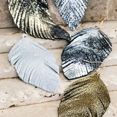 urbanista Glittery Genuine Leather Leaf Earrings