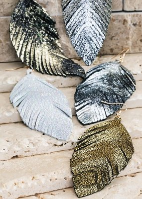 urbanista Glittery Genuine Leather Leaf Earrings