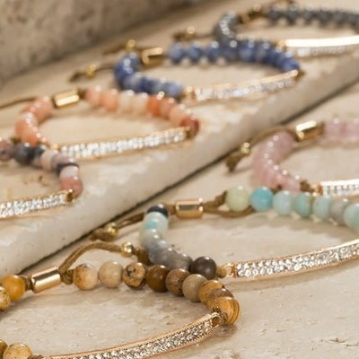 urbanista Adjustable Natural Stone Bracelet w/ Rinestone Bar