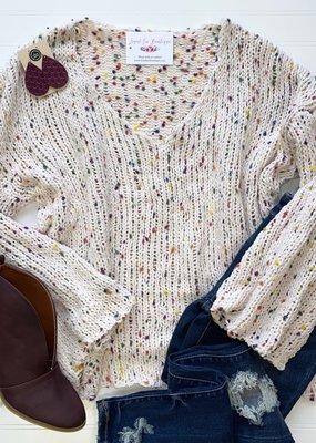 Peach Love Cream Confetti V-Neck Sweater
